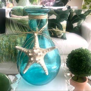 Turquoise Beach Glass Vase Starfish